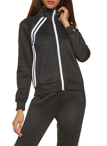 Varsity Stripe Track Jacket,BLACK,large