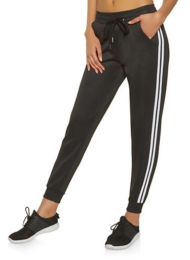 Varsity Stripe Track Pants,BLACK,large