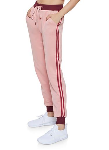 Varsity Stripe Track Pants,BLUSH,large