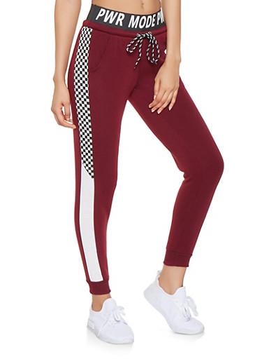 PWR MODE Graphic Sweatpants,BURGUNDY,large