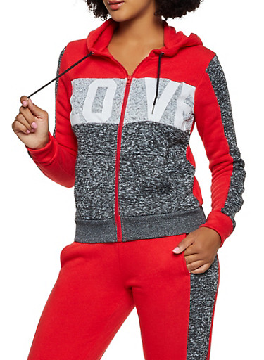 Love Graphic Sweatshirt,RED,large
