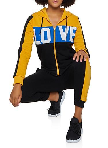 Love Graphic Sweatshirt,MUSTARD,large