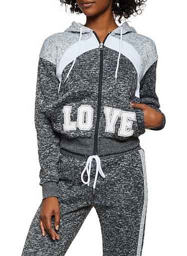 Zip Front Love Hooded Sweatshirt,CHARCOAL,large