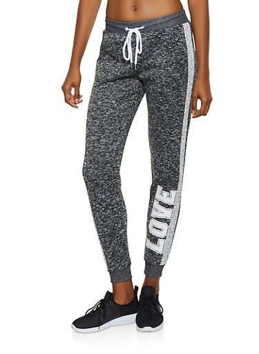 Knit Love Graphic Joggers,CHARCOAL,large