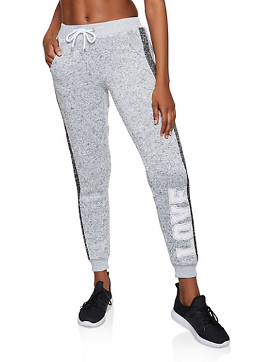 Knit Love Graphic Joggers,HEATHER,large