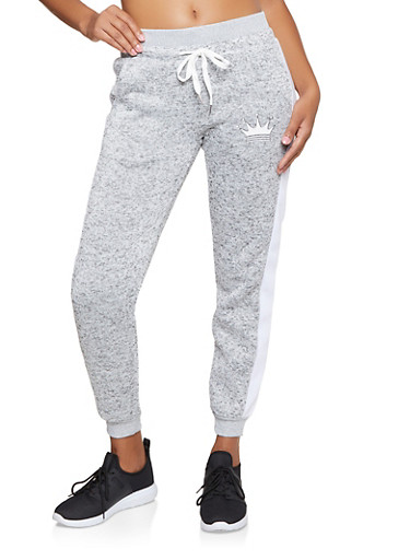 Crown Graphic Knit Joggers,GRAY,large