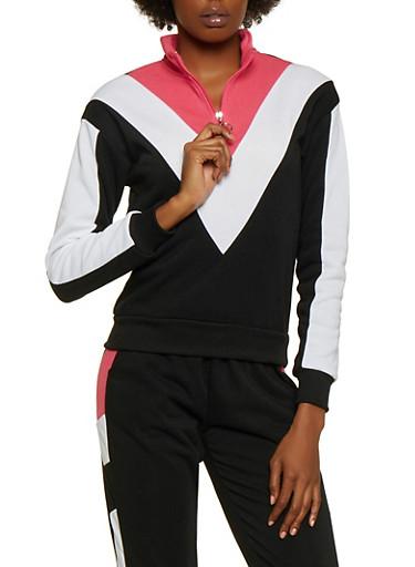 Chevron Color Block Zip Neck Sweatshirt,BLACK,large