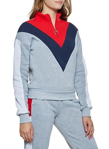 Chevron Color Block Zip Neck Sweatshirt,HEATHER,large