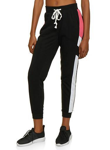 Color Block Detail Fleece Lined Joggers,BLACK,large