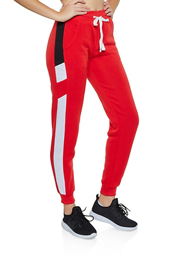 Color Block Detail Fleece Lined Joggers,RED,large