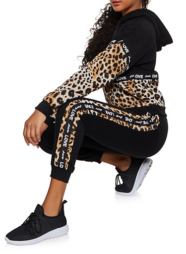 Share Love Tape Color Block Sweatshirt,BLACK,large