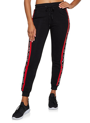 Share Love Tape Joggers,RED,large