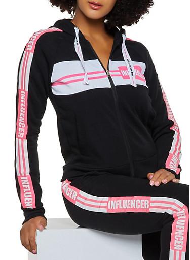 Influencer Graphic Sweatshirt,BLACK,large