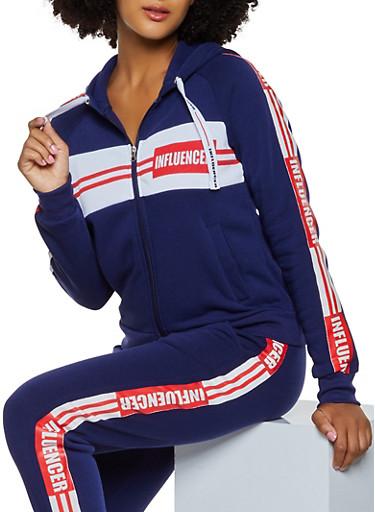Influencer Graphic Sweatshirt,RYL BLUE,large
