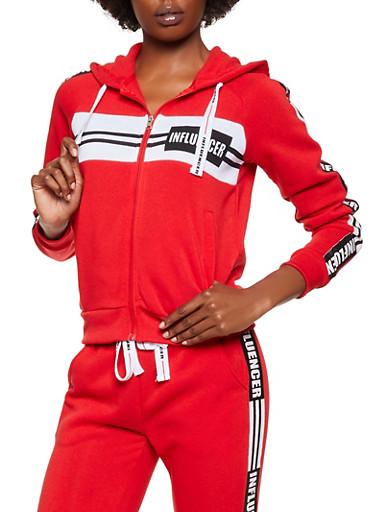 Influencer Graphic Sweatshirt,RED,large