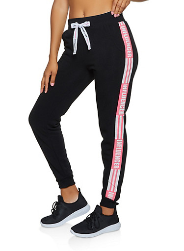 Influencer Graphic Joggers,BLACK,large
