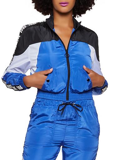 Love Tape Zip Up Windbreaker Jacket,RYL BLUE,large