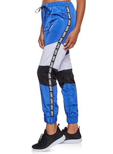 Love Tape Color Block Windbreaker Joggers,RYL BLUE,large