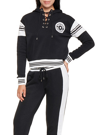 Graphic Lace Up Sweatshirt,BLACK,large