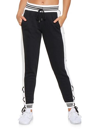 Lace Up Sweatpants,BLACK,large