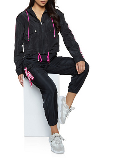 Love Tape Trim Windbreaker Jacket,BLACK,large