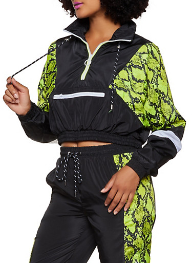 Color Block Zip Neck Windbreaker,LIME,large