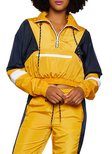 Color Block Zip Neck Windbreaker,MUSTARD,large
