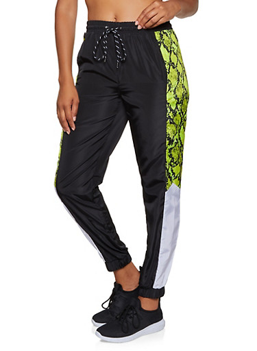 Nylon Color Block Windbreaker Joggers,LIME,large