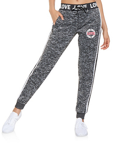 Love Graphic Side Stripe Joggers,CHARCOAL,large