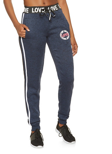 Love Graphic Side Stripe Joggers,NAVY,large