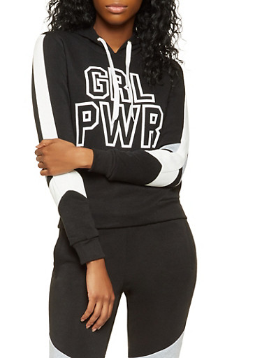 GRL PWR Graphic Sweatshirt,BLACK,large