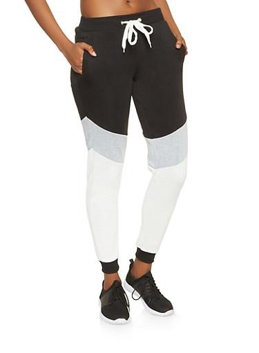 Color Block Sweatpants,BLACK,large