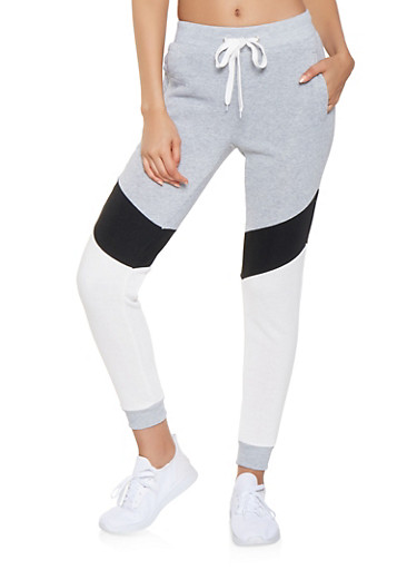 Color Block Sweatpants,HEATHER,large