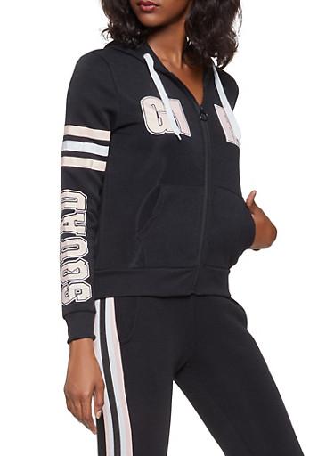 Graphic Zip Up Sweatshirt,BLACK,large
