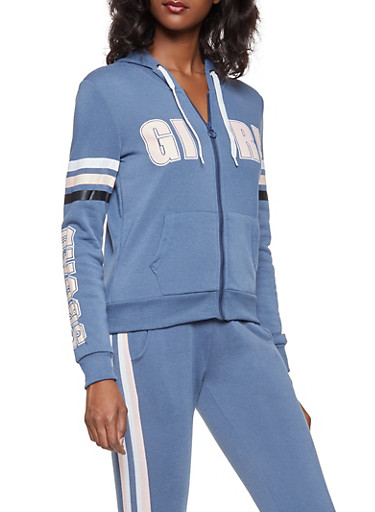 Graphic Zip Up Sweatshirt,GRAY,large