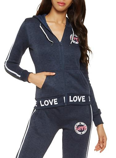 Love Graphic Sweatshirt,NAVY,large
