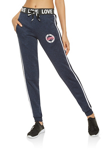 Love Graphic Joggers,NAVY,large