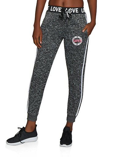 Love Graphic Knit Joggers,CHARCOAL,large