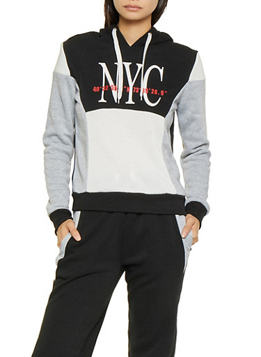 City Graphic Color Block Sweatshirt,BLACK,large