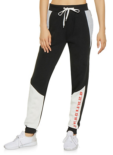 Graphic Color Block Sweatpants,BLACK,large