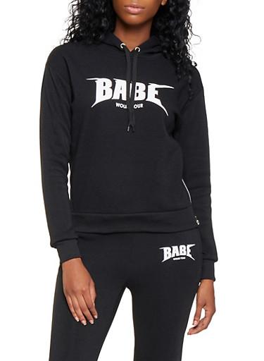 Babe World Tour Graphic Sweatshirt,BLACK,large