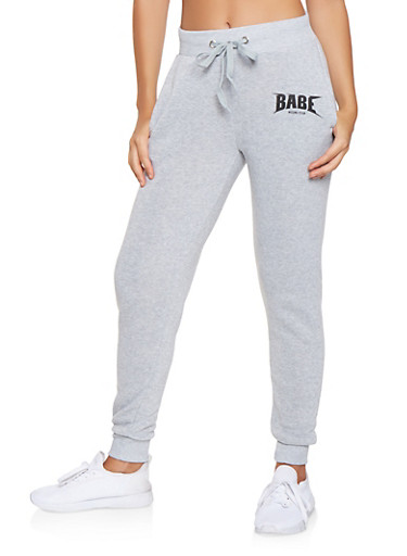 Babe World Tour Graphic Sweatpants,HEATHER,large