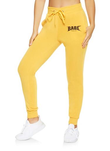 Babe World Tour Graphic Sweatpants,MUSTARD,large