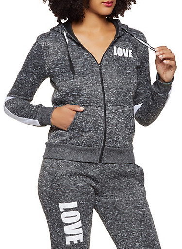 Love Graphic Zip Front Sweatshirt,CHARCOAL,large