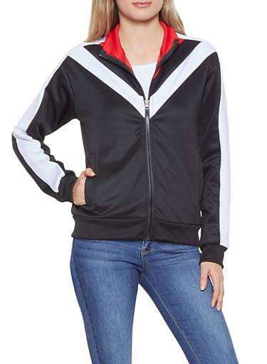 Chevron Color Block Track Jacket,BLACK,large