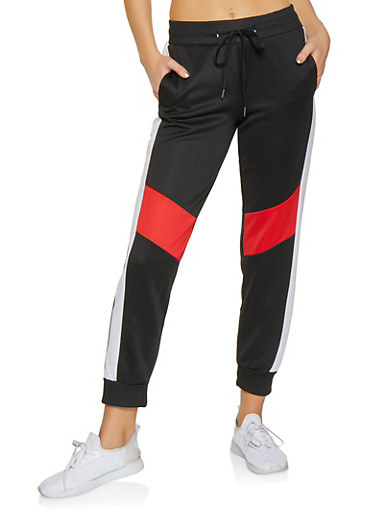 Color Block Activewear Joggers,BLACK,large