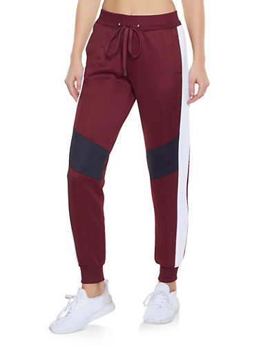 Color Block Activewear Joggers,WINE,large