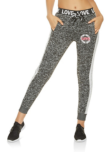 Love Graphic Marled Joggers,CHARCOAL,large