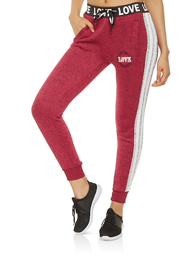 Love Graphic Marled Joggers,BURGUNDY,large