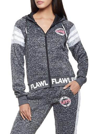 Flawless Hooded Zip Sweatshirt,CHARCOAL,large